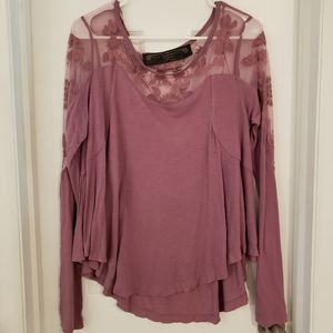Free People New Romantics Embroidered & Mesh Top
